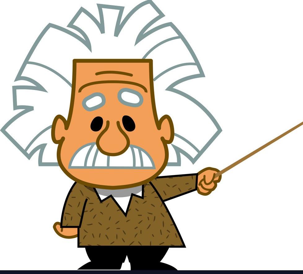 Albert Einstein professor genius scientist mathematician cartoon
